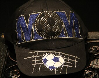 Soccer Mom Hat in Rhinestones and Glitter Vinyl (made to order)