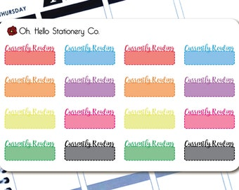 Planner Stickers 16 Rainbow Currently Reading Labels - for Erin Condren Life Planners - R3