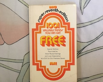 "Vintage book, 1970s 70s groovy orange prop ""1001 valuable things you can get free"" special edition / Decor / mid century / mod / groovy"