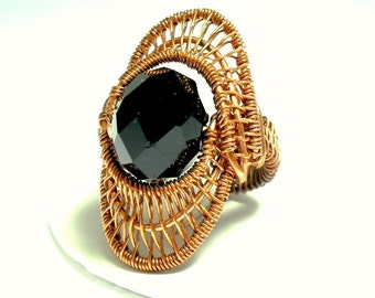 chunky wire wrapped beaded copper ring