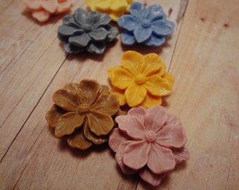 SALE 16PCS -26mm Detailed Indian Azalea CMVision Exclusive Ivory, Coral Peach, Vintage Pink, Mocha,Tangerine,Sunflower,Grey, Cornflower Blue