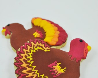 Turkey -  Thanksgiving Cookies - Fall Cookies - Decorated Iced Sugar Cookies - Thanksgiving dinner party favor - placecards - cute gift