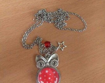 Owls Cabochon Red Star necklace