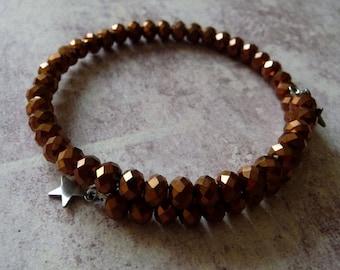 Bronze faceted Glass Beads Bracelet shape memory