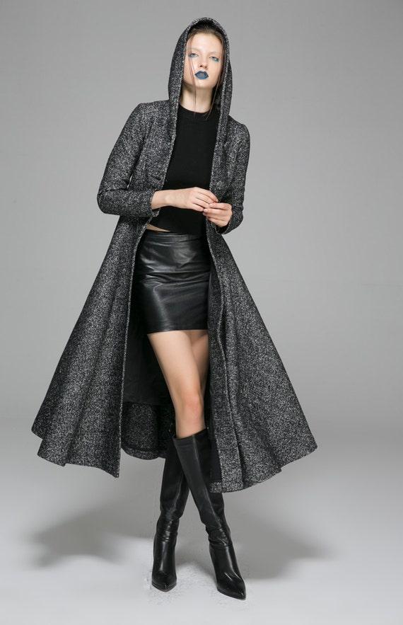 coat 1374 womens custom wool coat hooded long coat dress coat mod gray coat clothing made clothing coat maxi winter coats coat RnX6wqxxF