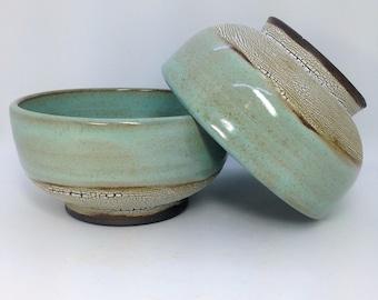 Ceramic Bowls, Cereal Bowls, Blue Pottery, Stoneware Serving Bowl, Celadon Rice Bowl, Modern Design, Minimalist Prep Bowls, Wide Green Bowls