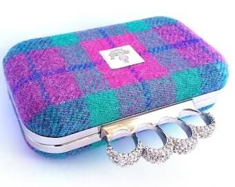 Tartan Harris Tweed Ring Clutch, minaudiere, clutch bag