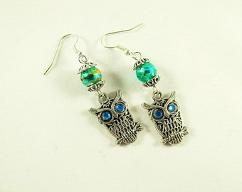 Silver Dangle Earrings,   Owl With Blue Eyes And Lampwork Beads,  Womens Gift Handmade