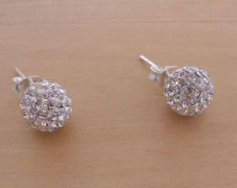 925 Sterling Silver Small 4 mm Diameter Blink Crystal Glitter Disco Ball Stud Earrings