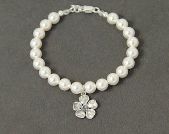 Pearl Flower Girl Bracelet, Flower Girl Gift Bracelet, Flower Girl Pearl Jewelry, Spring Flower Girl Gift Jewelry