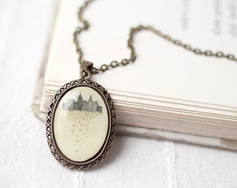 New York City necklace, Picture pendant, New york city gift, City girl gift, Lisa chow art, White necklace, Elegant necklace, City jewelry