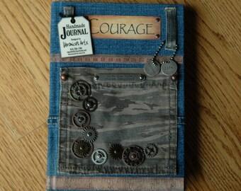 Handmade Journal COURAGE- Camouflage Pocket - Notebook - Diary - Sketchbook - Vintage  Designed