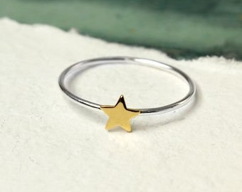 Halley * Stacking Ring * Sterling Silver * Yellow Gold * Stacking Jewelry * Star Ring * Stacking Ring * Stacking Jewelry * Star Jewelry