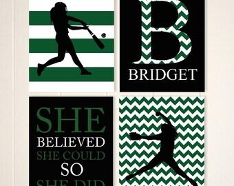 Girls inspirational art, tween girl wall art, teen girl gift idea, gift for girl, softball wall art, kids sports art, set of 4 prints