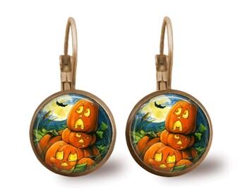 Halloween Jewelry Halloween Earrings Moon Jewelry Pumpkin Earrings Bat Earrings Pumpkin Jewelry Holiday Jewelry Beaded Jewelry Silver