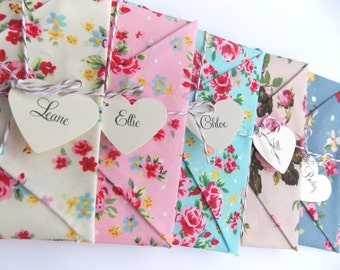 4 x Will you be my bridesmaid Card, Wedding Invitation, bridesmaid reveal. Maid of honour, Matron of Honour, floral fabric envelopes
