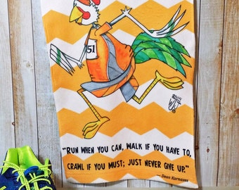 Running Towel Workout Inspiration Orange Microfiber Chevron Stripe Man Sweat Exercise Chicken Never Give Up 11x18