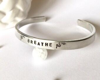 Breathe Cuff Bracelet Hand Stamped Jewelry, Custom Cuff, Inspirational Cuff, Boho Bracelet, Stacking Bracelet, Skinny Cuff, Girlfriend Gift