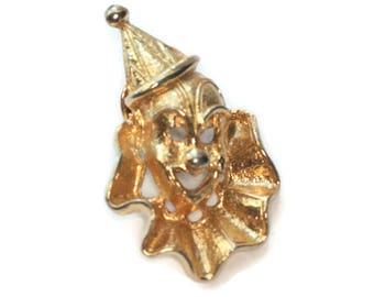 Pierrot Clown Face Tac Brooch Pin Gold Tone Metal Vintage