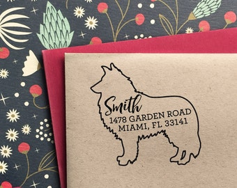 Custom Address Stamp - Rough Collie Return Address Stamp, customized gift for holidays, housewarming and weddings, school