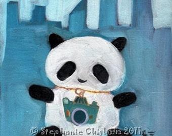 Camera Panda. Panda Art Print. Art Print. Awesome Baby Shower Gift. Nursery Animal Print. Children's illustration, kids art print, poster