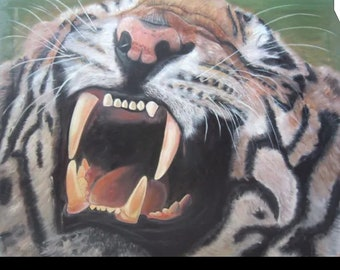 Tiger, lion, African wildlife  oil painting, large