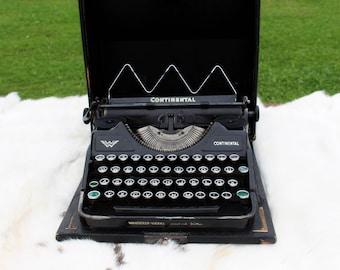 Antique typewriter Continental WORKING TYPEWRITER 1930s Continental Wanderer Werke QWERTZ layout