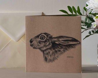 Hare's Head British Nature Greetings Card - Blank Inside