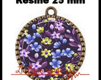 Bronze Cabochon pendant 25 mm epoxy resin - blue Floral (19) round - flower, fields