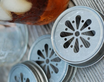 Daisy Mason Jar Lid Pewter Vintage finish, set 6, use paper straw for rustic barn chic party wedding detail, Frozen snowflake, Duck Dynasty