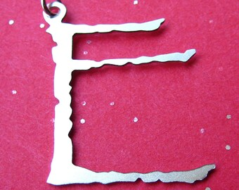 Sterling Silver Spidery Pendant Letter Charm