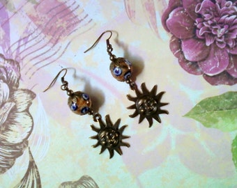 Brown, Blue and Bronze Ehthic Sun Earrings (1735)