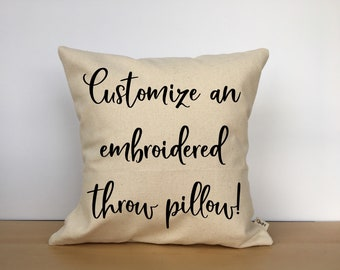 Custom embroidered throw pillow, custom pillow cover, personalized pillow, custom gift, personalized gift, wedding gift, custom gift for her