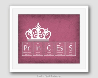 Princess Crown Print, Nursery Wall Art, Chemistry Nerd Print, Science Art Gifts