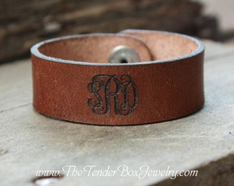 Personalized Monogram Leather Cuff Leather Bracelet Engraved Monogram Leather Cuff Bracelet Initials leather cuff Personalized Gift for Her