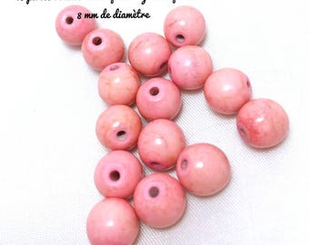 15 beads round and smooth turquoise howlite stone dyed, synthetic - light pink - 8 mm in diameter