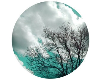 Aqua Tree Photography, Sky, Clouds, White, Fall, Colorful, Forest, Woods, Blue, Circle, Round Image - 5x5 inch Print - If you listen