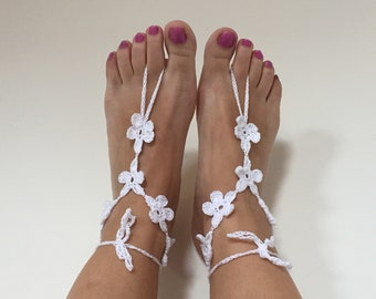 Crochet Barefoot Sandals Boho Beach Wedding Shoes Bridal Sandals Lace Shoes Gift For Women