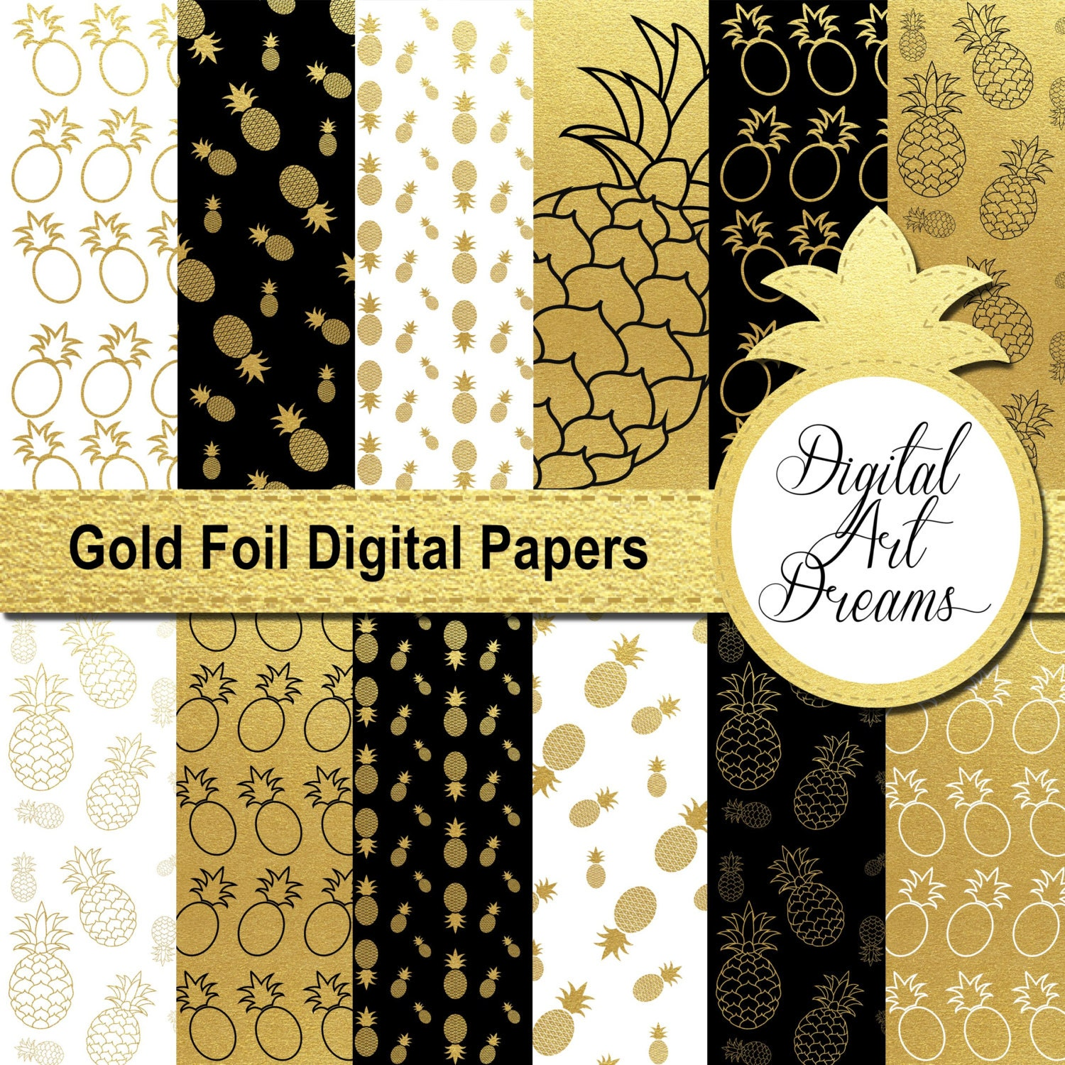 Pineapple Digital Papers, Glitter Backgrounds, Black & Gold ...