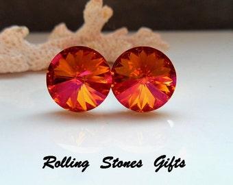 Astral Pink 12mm Swarovski Rivoli Rhinestone Stud Earrings-Astral Pink Crystal Studs-Large Color Changing Stud Earrings-Rivoli Studs