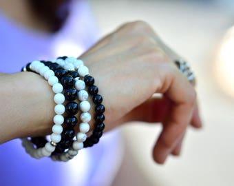 Black Bracelet, Stackable Bracelet, Yoga Bracelet, Unisex Bracelet, Onyx Bracelet, Healing Bracelet,  Gemstone Bracelet, Sterling Bracelet