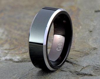Cobalt Wedding Band, Mens Wedding Band, Black Wedding Band, Mens Ring, Custom Made, Rings, Bands, Beveled, 8mm, Handmade, Anniversary