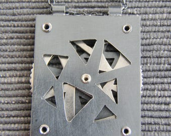 Interactive pendant, triangles, oxidized black silver. FREE UK POSTAGE