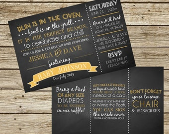Chalkboard Style Couple's Baby Shower Invitation