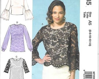 Misses Scoop Neck Pullover Tops, Sizes 6 Thru 14, New Uncut McCalls Pattern 7285