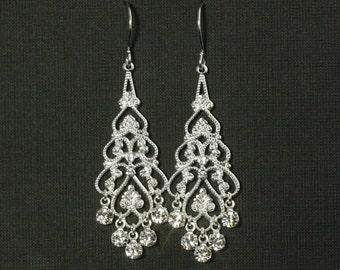 Wedding Earrings Chandelier --  Bridal Earrings, Vintage Weddings, Rhinestones, Swarovski Crystal, Formal, Silver, Filigree -- PRINCIPESSA