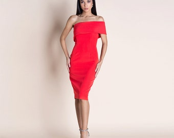 Muse off the shoulder red bodycon pencil midi dress