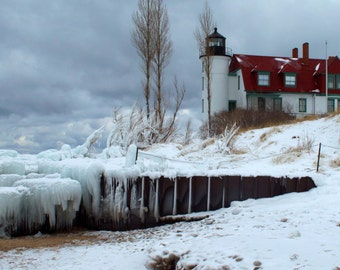 Point Betsie Lighthouse Winter on Lake Michigan in Frankfort Michigan