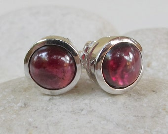 Garnet Earring Garnet Stud Earring Garnet Silver Stud Earrings January Garnet Earring Birthstone Jewelry Simple Cabochon Earrings