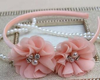 Peach headbands, peach girls headbands, peach flower girl headband, girls hair accessories, peach toddler headband, peach headbands toddler